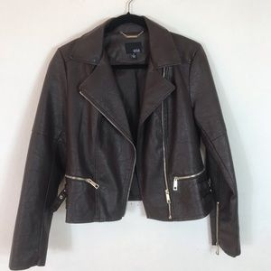 a.n.a A NEW APPROACH Brown Faux Leather Jacket M
